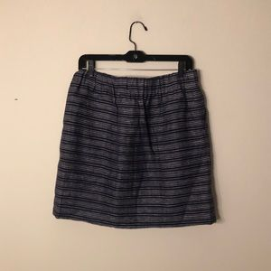 LOFT blue striped linen mini skirt, size M